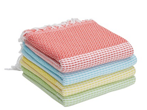 4x TURKISH PESHTEMAL TOWEL SET OF FOUR