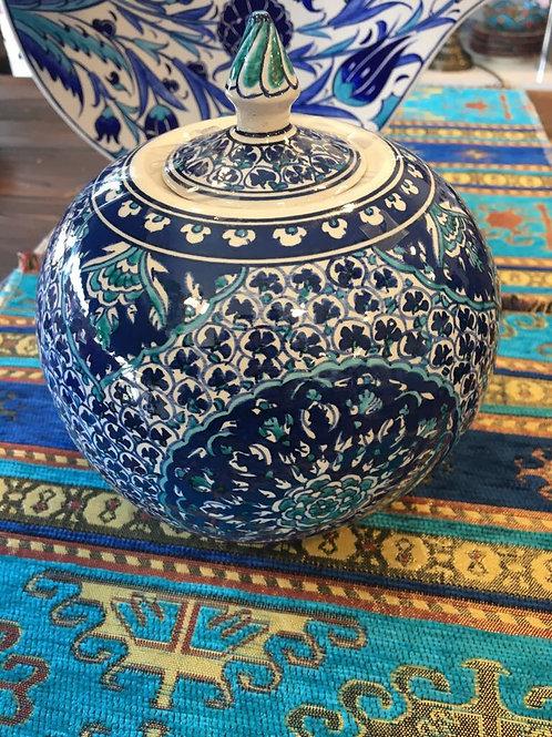 EXCLUSIVE TURKISH CERAMIC ROUND JAR - 65 cm, BLUE AND WHITE