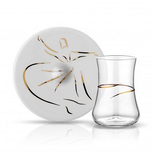 LUXURIOUS DERVISH TURKISH TEA GLASS SETFOR SIX