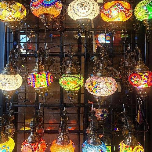 """MIX COLOR TURKISH MOSAIC WALL LAMP, NO.2 GLOBE (12CM /4.7"""")"""