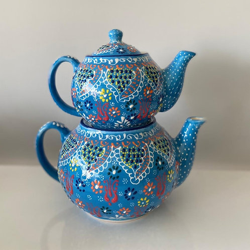 TURKISH CERAMIC TEA POT, DOUBLE CAYDANLIK BLUE