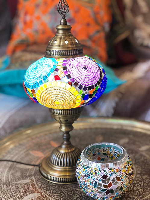 """10x ASSORTED MOSAIC TABLE LAMP, GLOBE SIZE: 14 CM (5.5"""")"""