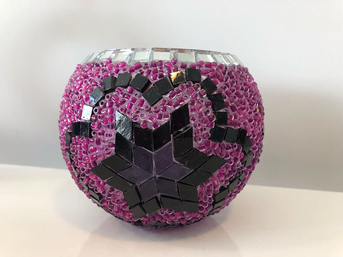 MOSAIC CANDLE HOLDER, PURPLE