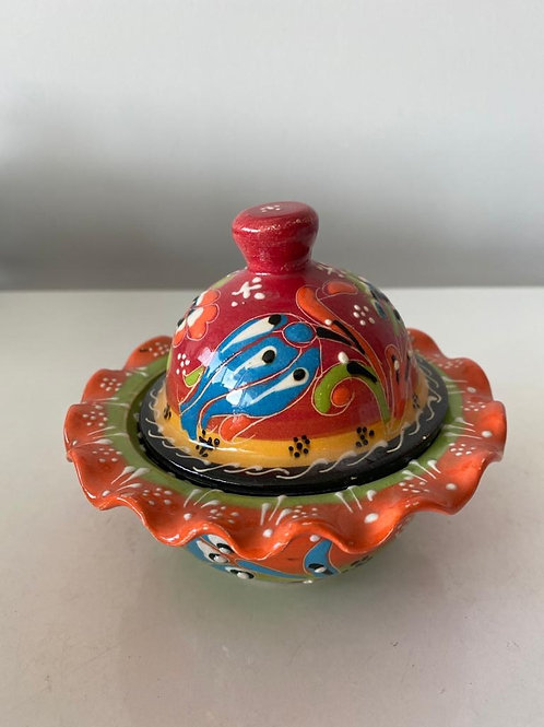 SMALL TURKISH CERAMIC SUGAR BOWL WITH LID, 002