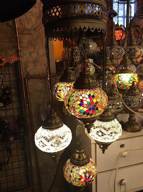 TURKISH MOSAIC CHANDELIER, 5 LAMPS, NO 2