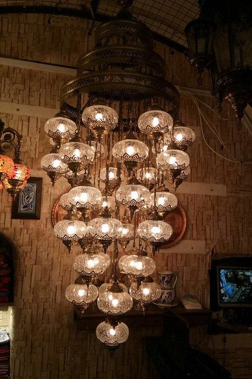 LARGE TRANSPARENT TURKISH CHANDELIER, 36 LAMPS