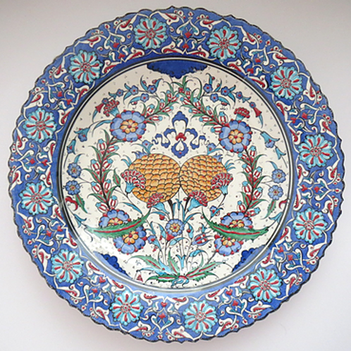 FLORAL TURKISH CERAMIC PLATE, 40 CM