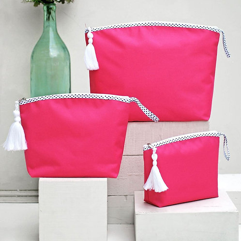 HANDMADE BEACH BAG SET OF THREE, PINK
