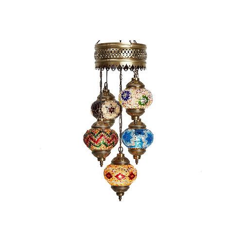 """5 LAMPS MOSAIC CHANDELIER, NO.2 (GLOBE SIZE: 12 cm - 4.7""""), MIX COLORS"""