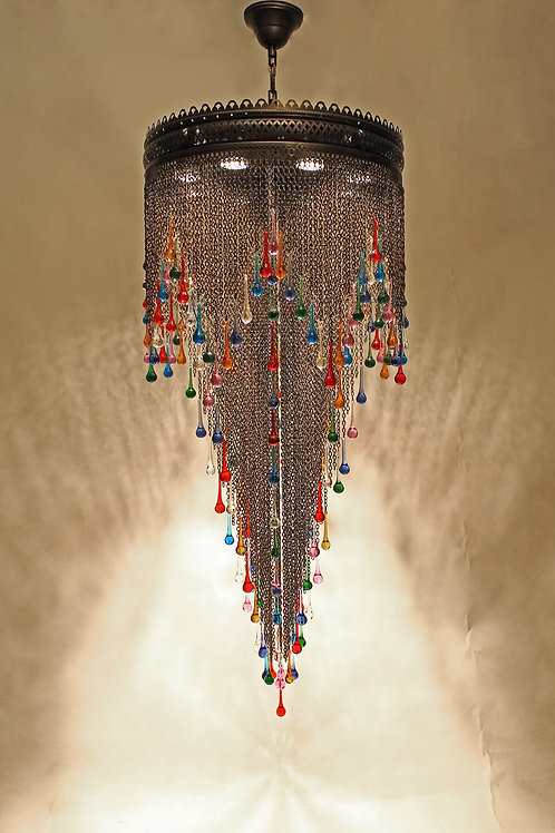 OTTOMAN CHAIN CHANDELIER, MULTI-COLOR DROPS