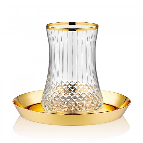 LUXURIOUS TURKISH TEA GLASS SET FOR SIX, GOLD PLATED