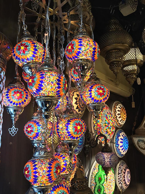TURKISH MOSAIC CHANDELIER, 13 LAMPS