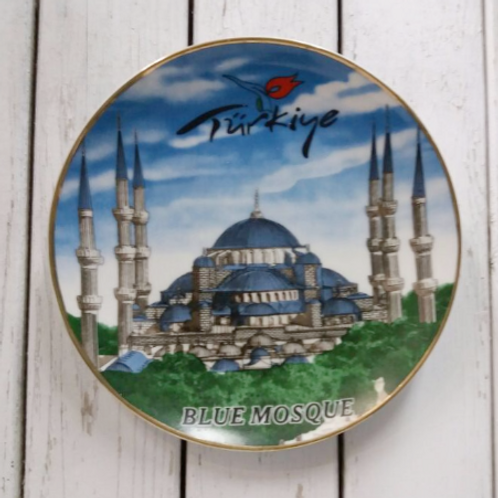 HAND-PAINTED CERAMIC ISTANBUL PLATE, BLUE MOSQUE