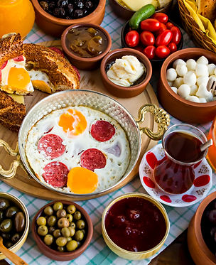 Traditional Turkish Breakfast with sesam