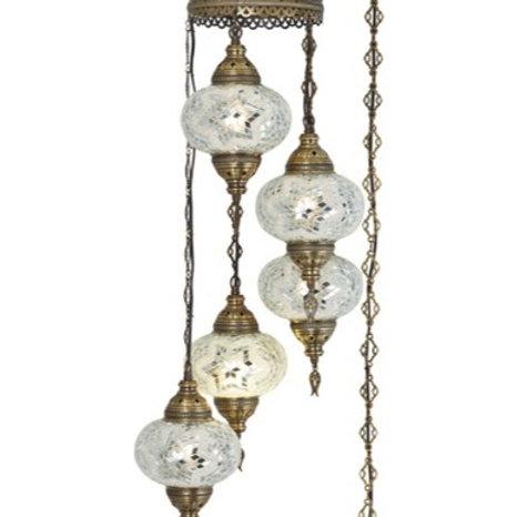 TURKISH MOSAIC CHANDELIER, 5 LARGE LAMPS