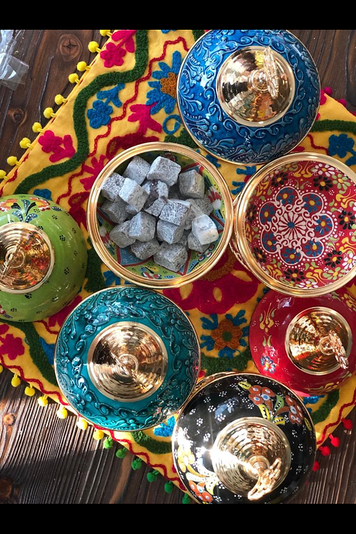 ASSORTED TURKISH CERAMIC SUGAR BOWL WITH LID, 6 PIECES