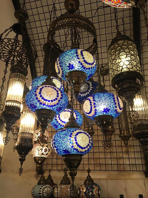 TURKISH MOSAIC CHANDELIER, 7 LAMPS, BLUE