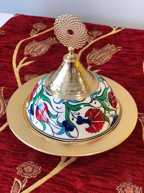 TURKISH CERAMIC SUGAR BOWL, 6 PIECES