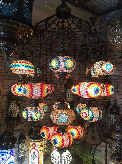 TURKISH MOSAIC CHANDELIER, 21 LAMPS
