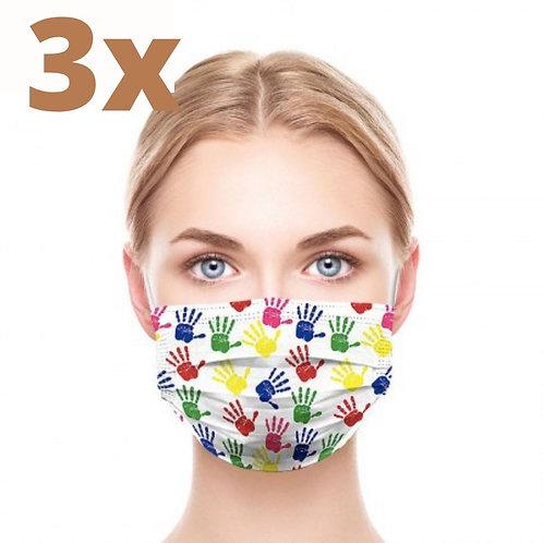 3x REUSABLE MASK SET,  UNISEX, HANDS