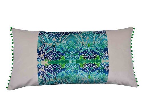 EXCLUSIVE IKAT CUSHION, UNIQUE STYLE, 022, BLUE AND GREEN