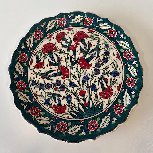 TURKISH CERAMIC PLATE, 18 CM, GREEN