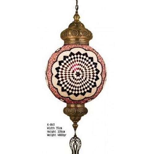 EXTRA LARGE UNIQUE TURKISH MOSAIC CHANDELIER, 003