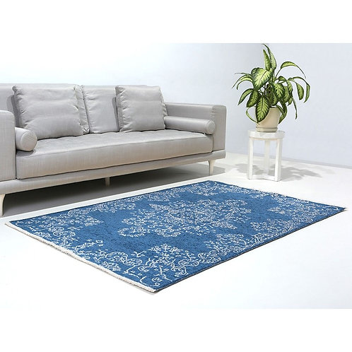 BLUE AND GREY REVERSIBLE TURKISH CARPET
