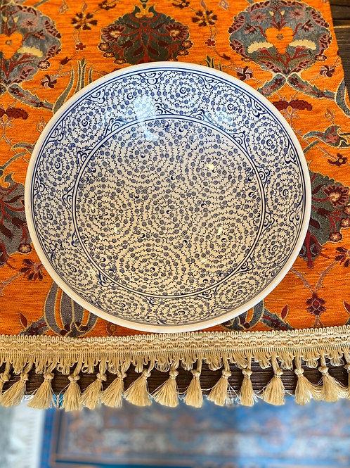 "LARGE TURKISH CERAMIC SALAD BOWL, 25 cm (9.8""), WHITE AND BLUE"