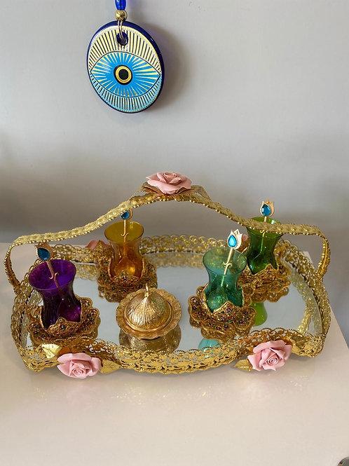 LUXURIOUS TURKISH TEA SET FOR FOUR, 006