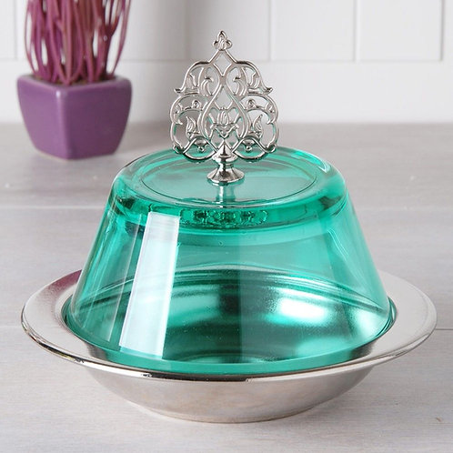 GLASS TURKISH SUGAR BOWL, BLUE