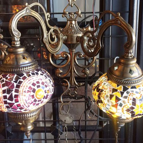 TURKISH MOSAIC WALL LAMP,2 GLOBES, KD19