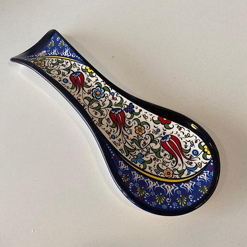 TURKISH CERAMIC SPOON REST, BLUE 003
