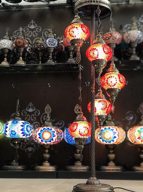 TURKISH MOSAIC FLOOR LAMP, 5 LAMPS, RED