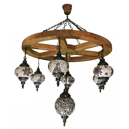 LARGE MOSAIC CHANDELIER WITH WOOD BASE