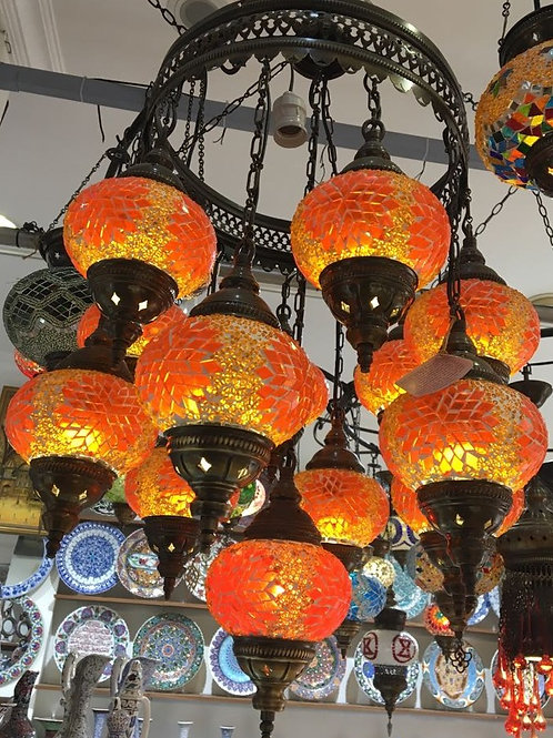 ORANGE MOSAIC CHANDELIER, 12 LAMPS