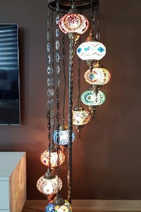 HANDMADE TURKISH MOSAIC FLOOR LAMP, 9 LAMPS