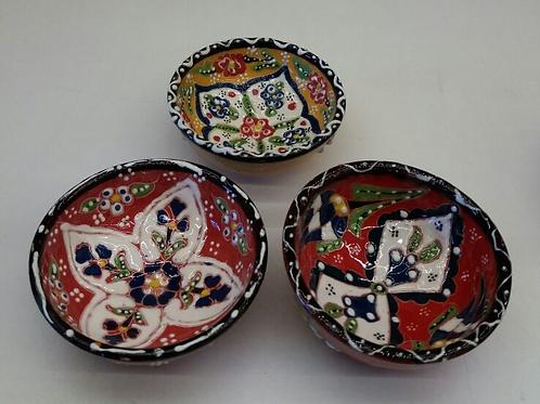 TURKISH CERAMIC BOWL SET OF THREE, 5 cm