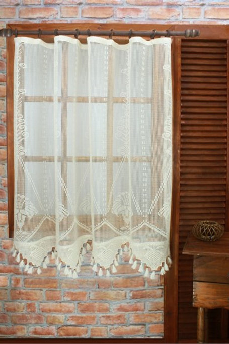 NATURAL HANDMADE KITCHEN CURTAIN, 100x185 CM