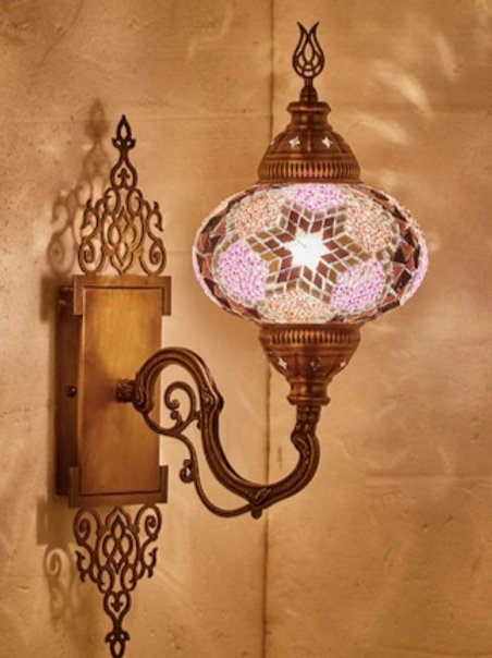 MOSAIC WALL LAMP WITH ORIENTAL MOUNT PIECE , 00014