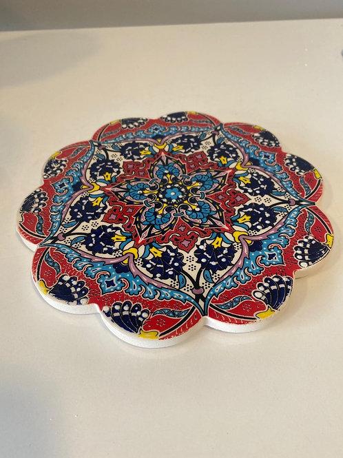 "LARGE TURKISH CERAMIC COASTER, 18 cm (7""), 014"