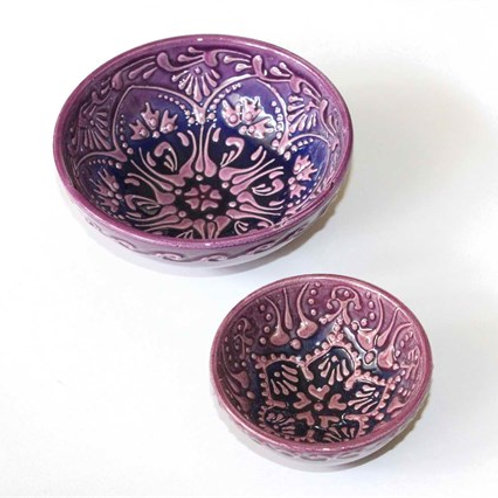 TURKISH CERAMIC MEZE / TAPAS BOWL SET OF TWO, LILAC