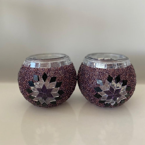 MOSAIC CANDLE HOLDER SET OF TWO, PURPLE