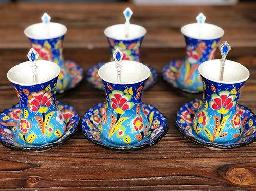 TURKISH CERAMIC TEA SET WITH TEA SPOONS