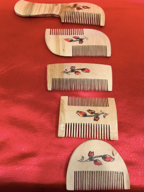 TURKISH WOODEN SIMSIR COMB, SET OF FIVE