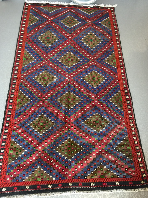 """LARGE TURKISH  KILIM RUNNER, 345 x 190 cm ( 135 """" x 74 """" ), BLUE AND RED"""