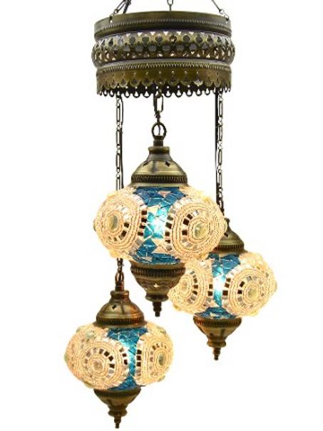 "3 LAMPS MOSAIC CHANDELIER, NO.2 (GLOBE SIZE: 12 cm - 4.7""), BLUE & BEIGE"