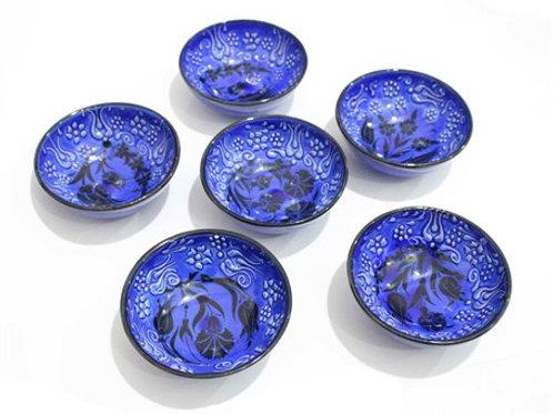 "TURKISH CERAMIC BOWL SET OF SIX, 12 cm (4.7""), BLUE 008"
