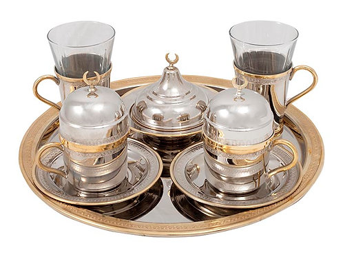 TURKISH COPPER COFFEE AND TEA SET FOR TWO WITH WATER / TEA GLASS, GOLD PLATED