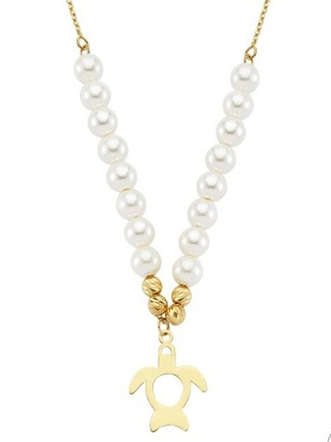 GOLD PEARL TURTLE NECKLACE, HANDMADE